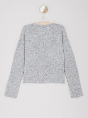 Pull chine col rond gris fille