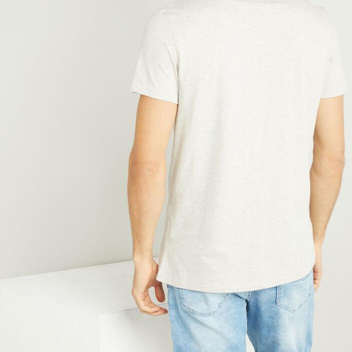 T-shirt col tunisien uni homme beige