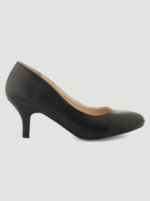Escarpins unis en simili cuir noir femme