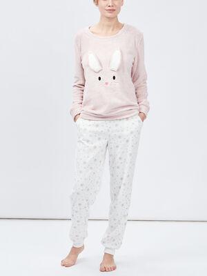 pyjama theme noel long imprime rose femme