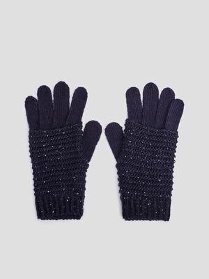 Gants tricotes bleu marine