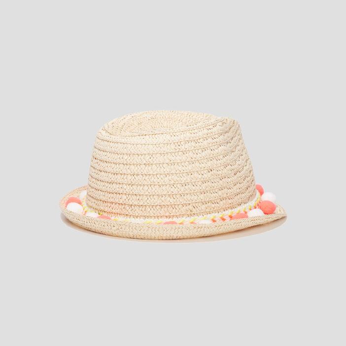 Chapeau borsa à pompons fille beige