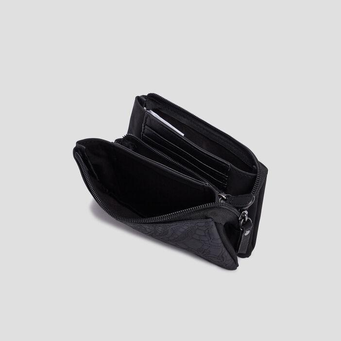 Portefeuille aspect embossé femme noir