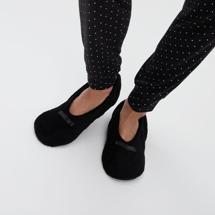 Chaussons ballerines à noeuds femme noir