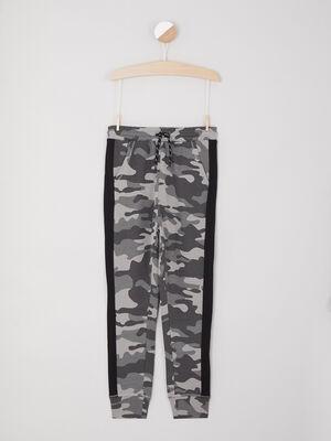 Jogging camouflage bandes contrastantes laterales gris garcon