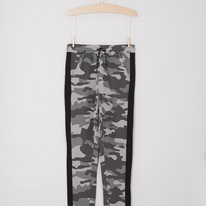 Jogging camouflage bandes contrastantes latérales garçon gris