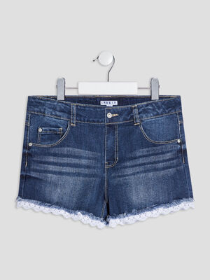 Short droit en jean Creeks denim double stone fille