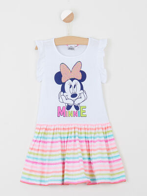Robe MINNIE a rayures blanc fille
