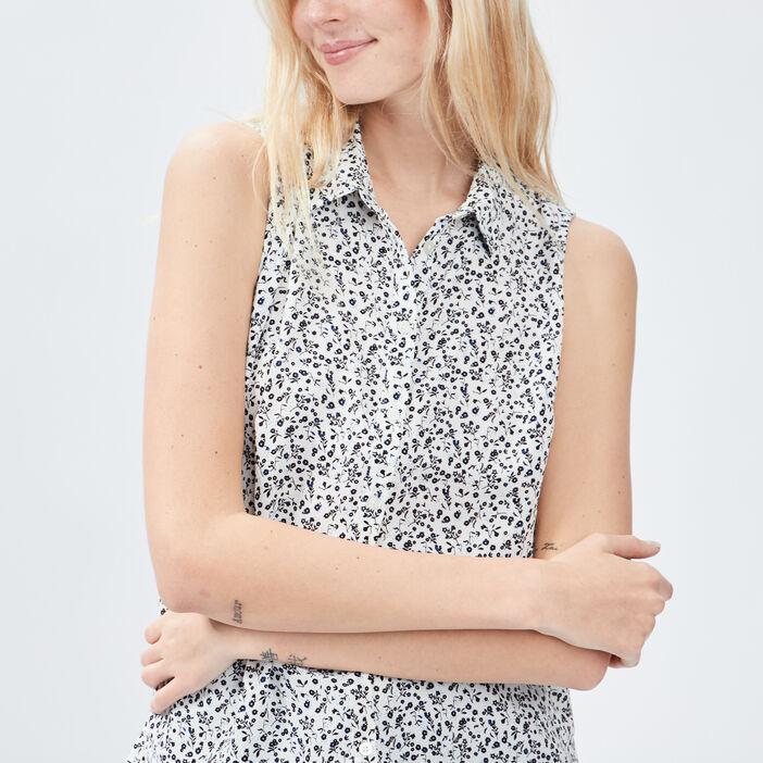 Chemise sans manches femme ecru
