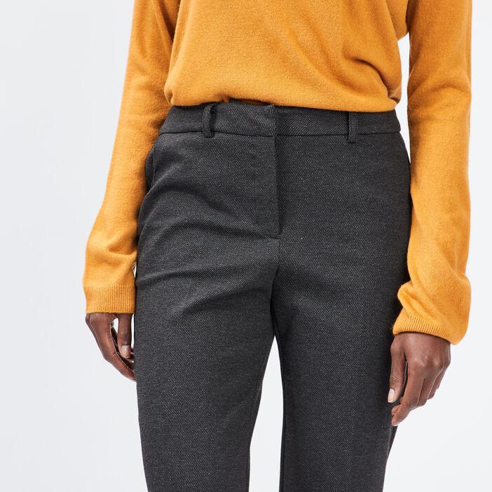 Pantalon droit à pinces femme gris foncé