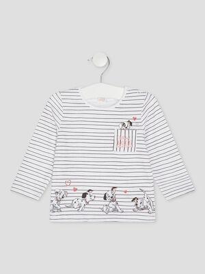 T shirt 101 Dalmatiens blanc fille