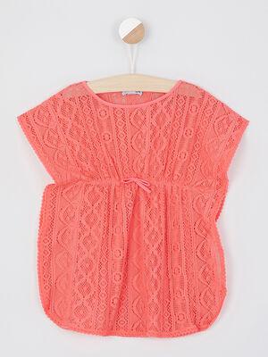 Robe de plage dentelle unie orange corail fille