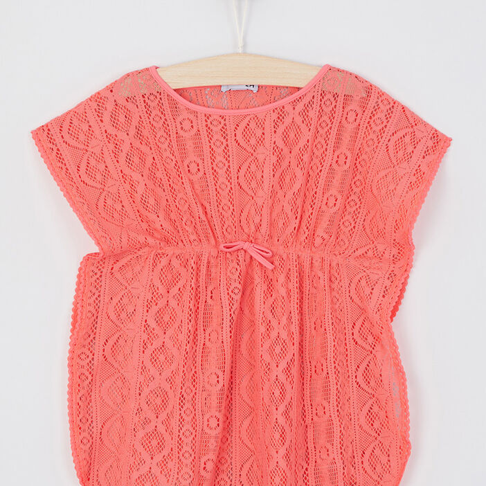 Robe de plage dentelle unie fille orange corail