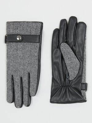 Gants en simili cuir gris fonce mixte
