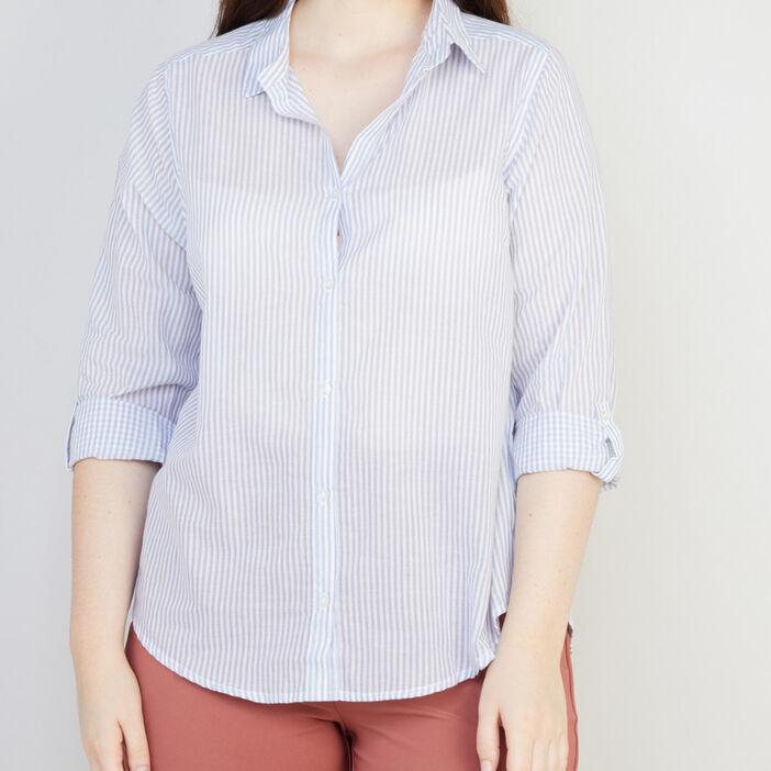 Chemise rayée en coton femme grande taille bleu