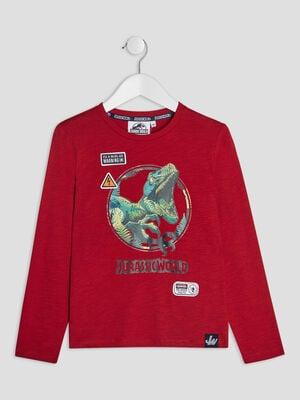 T shirt Jurassic World bordeaux garcon