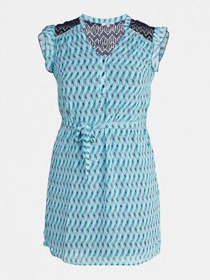 Robe avec petites manches volantees bleu turquoise femme