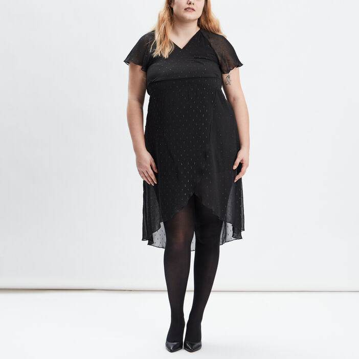 Robe évasée grande taille femme grande taille noir