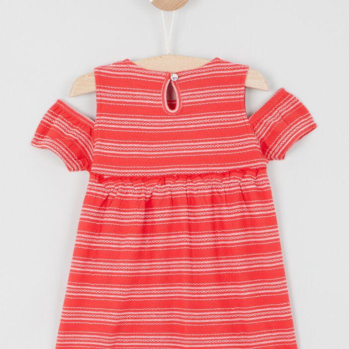 Robe imprimée épaules apparentes bébé fille rouge