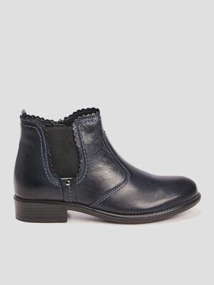 Boots cuir finitions croquet ajoure bleu marine fille