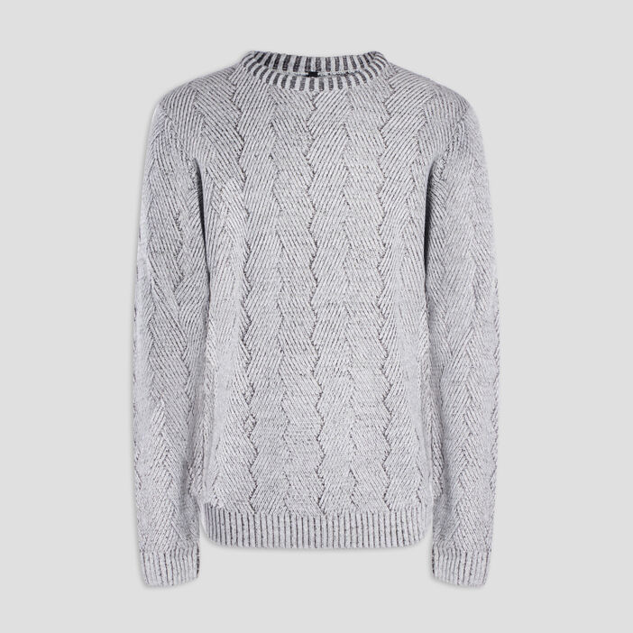 Pull avec col rond homme gris