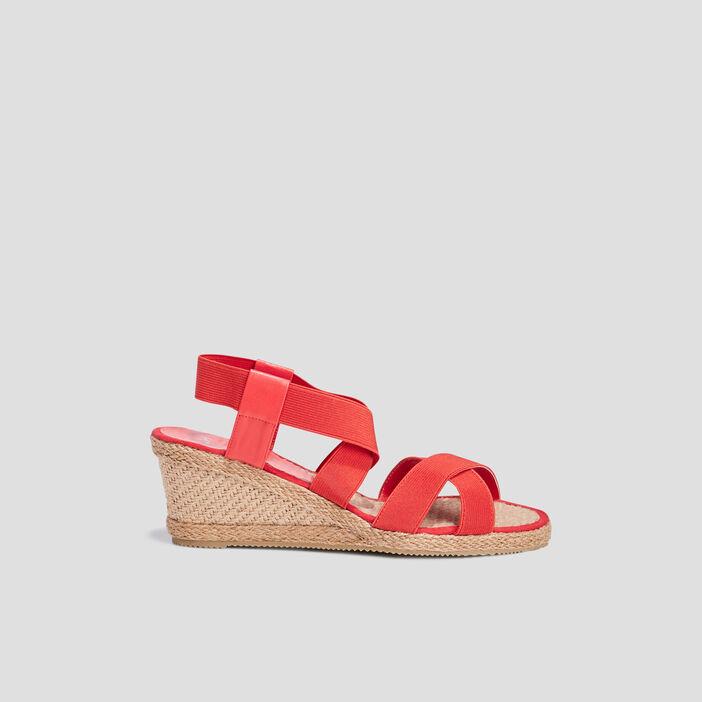 Sandales compensées femme rouge