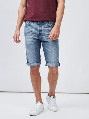 Bermuda droit en jean Creeks denim bleach homme