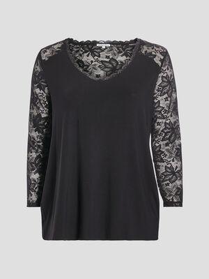 T shirt manches longues noir femmegt