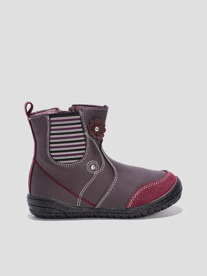 Bottines plates zippees bordeaux fille
