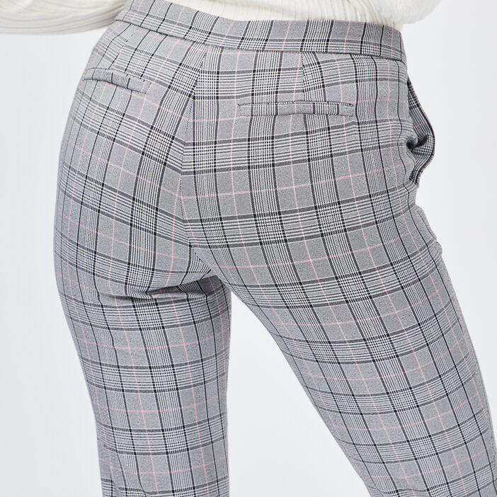 Pantalon droit à pinces femme rose