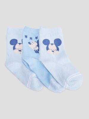 Lot 3 chaussettes Mickey bleu ciel bebeg