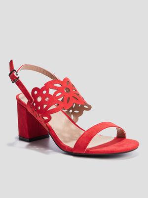 Sandales a talons ajourees rouge femme