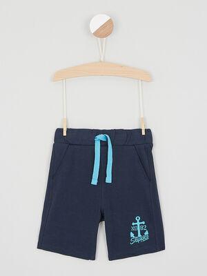 Bermuda chine taille elastiquee coton bleu marine garcon