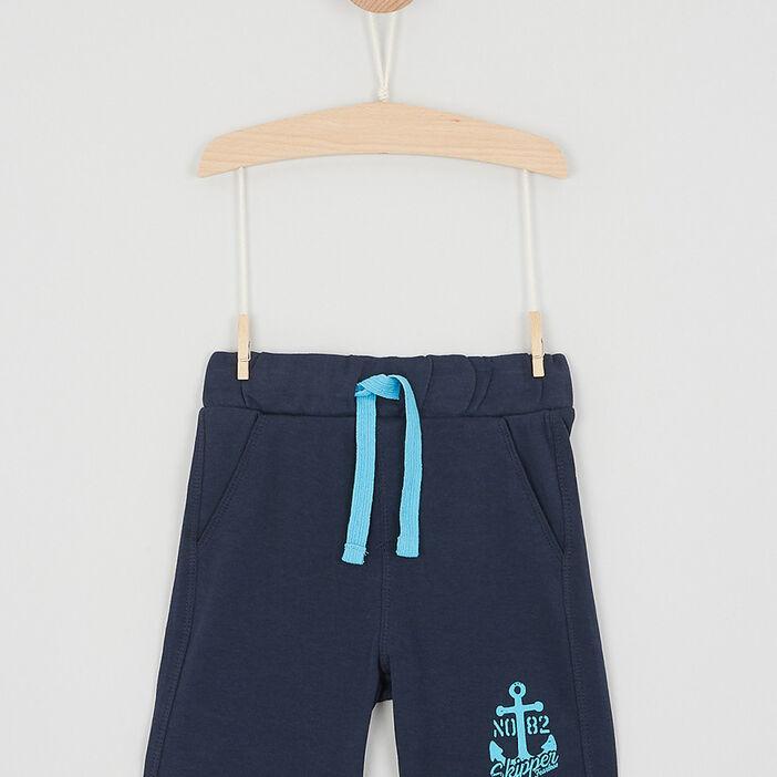 Bermuda chiné taille élastiquée coton garçon bleu marine