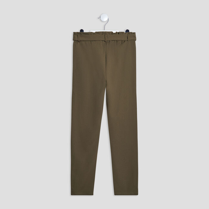 Pantalon droit ceinturé fille vert kaki