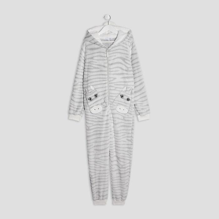 Combinaison pyjama à capuche fille gris
