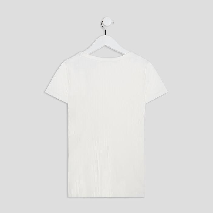 T-shirt manches courtes côtelé fille ecru