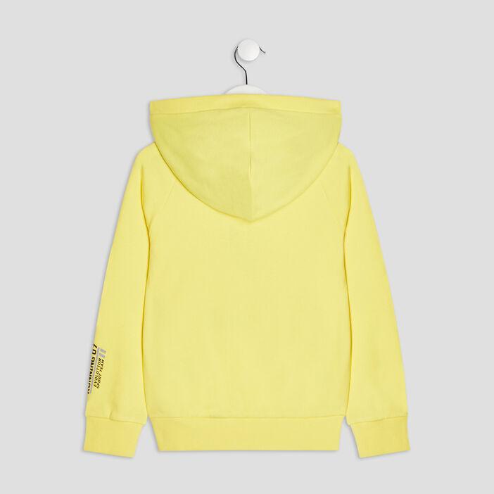 Sweat à capuche garçon jaune fluo