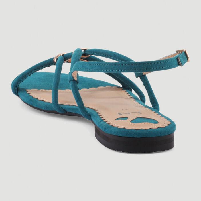 Sandales fines brides avec bijoux femme vert