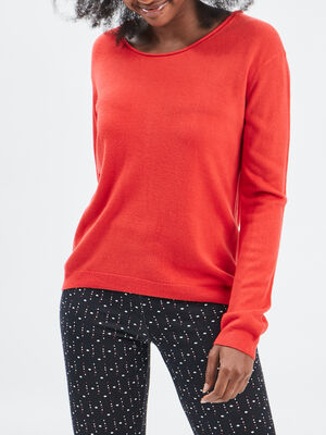Pull avec col rond rouge femme