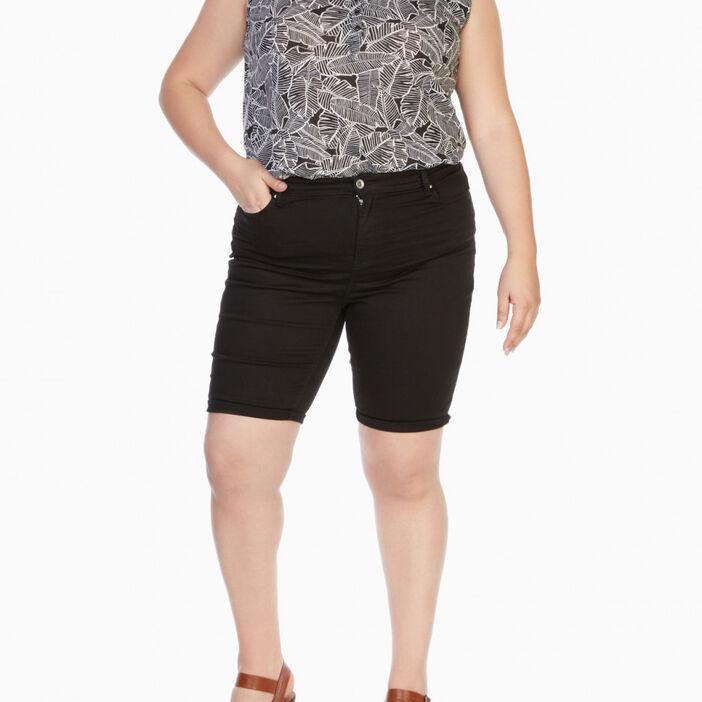 Bermuda grande taille coton mélangé femme grande taille noir