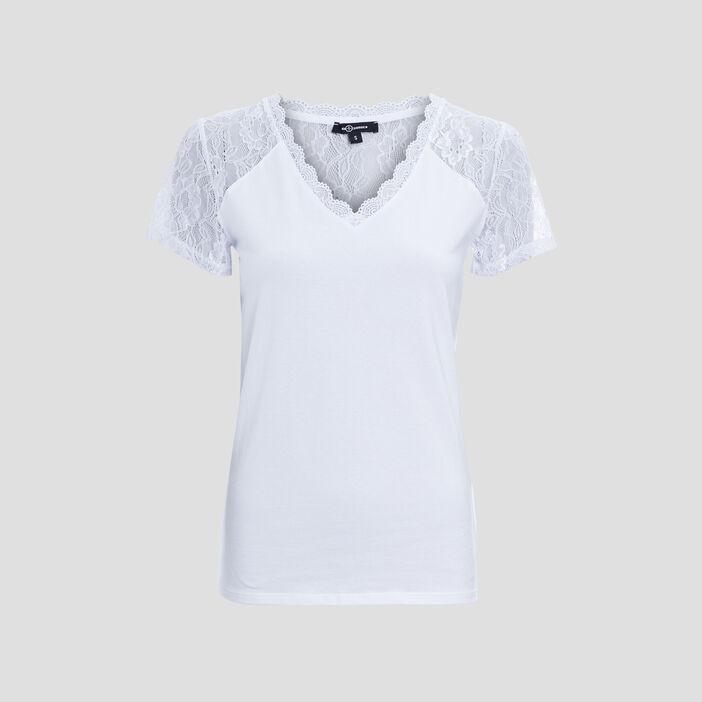 T-shirt à dentelle Mosquitos femme blanc
