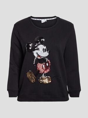 Sweat manches longues Mickey noir femmegt