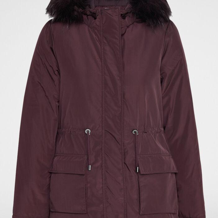 Manteau avec lien à la taille femme prune