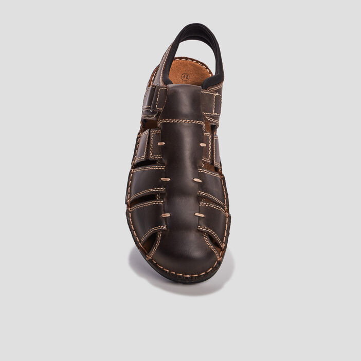 Sandales en cuir Trappeur homme marron