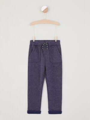 Pantalon jogging uni avec lacet bleu garcon