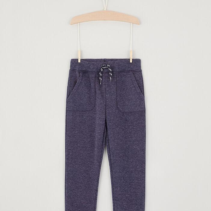 Pantalon jogging uni avec lacet garçon bleu
