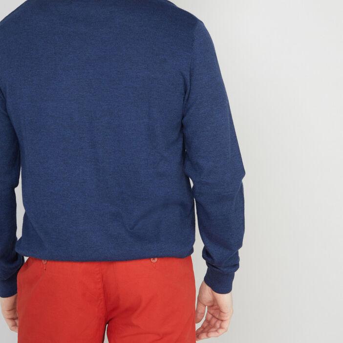 Pull maille jersey col V homme bleu