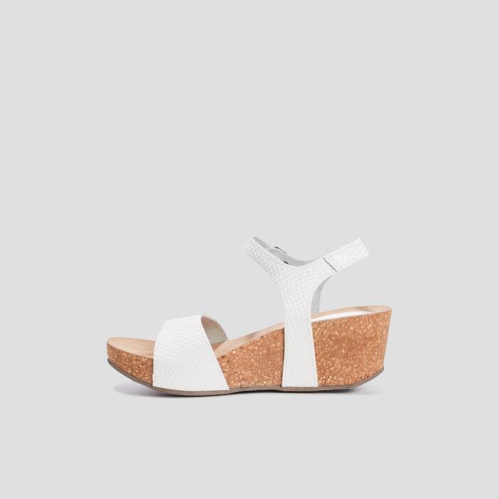 Sandales compensées femme blanc