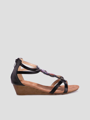 Sandales avec bijoux noir femme